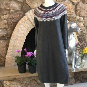 NEW J. Jill Fair Isle Sweater Gray Long Sleeve Midi Dress Women's Size M Medium